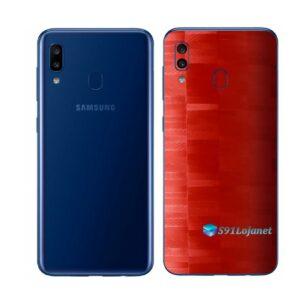 Galaxy A20 Adesivo Skin Película Tras FX Pixel Vermelho