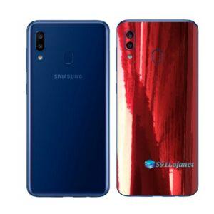 Galaxy M20 Adesivo Skin Película Tras Metal Gold Red