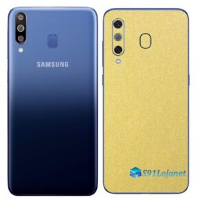 Galaxy M30 Adesivo Skin Película Tras Metal Dourado