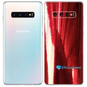 Galaxy S10 Plus Adesivo Skin Película Tras Metal Gold Red