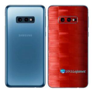Galaxy S10e Adesivo Skin Película Tras FX Pixel Vermelho
