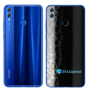 Huawei Honor 8x Adesivo Skin Película FX Couro Negro