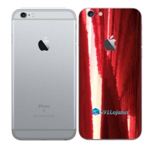 iPhone 6 Plus Adesivo Skin Película Traseira Metal Gold Red