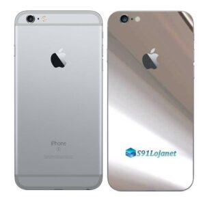 iPhone 6s Plus Adesivo Skin Película Traseira Metal Cromo