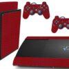 Playstation 3 PS3 Super Slim Adesivo Fibra Vermelho