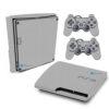 Playstation 3 Slim PS3 Adesivo Fibra Cinza