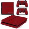 Playstation 4 PS4 Fat Adesivo Skin Fibra Vermelho