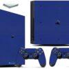 Playstation 4 PS4 Pro Adesivo Skin Fibra Azul