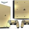 Playstation 4 PS4 Pro Adesivo Skin Fibra Dourado