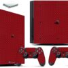 Playstation 4 PS4 Pro Adesivo Skin Fibra Vermelho