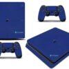 Playstation 4 PS4 Slim Adesivo Skin Fibra Azul