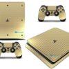 Playstation 4 PS4 Slim Adesivo Skin Fibra Dourado