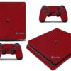 Playstation 4 PS4 Slim Adesivo Skin Fibra Vermelho