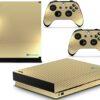 Xbox One X Adesivo Skin Fibra Dourado