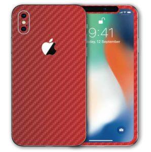 iPhone X Apple Adesivo Skin Película Fibra Vermelho