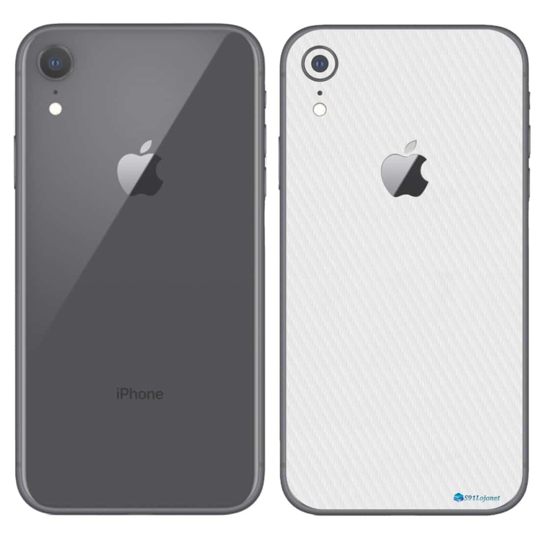 iPhone XR Apple Adesivo Skin Película Fibra Branco