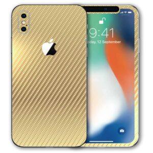 iPhone XS Apple Adesivo Skin Película Fibra Dourado