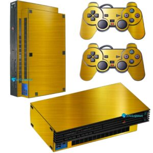 Adesivo Skin Playstation 2 PS2 Fat Pelicula Ouro Cromo Escovado
