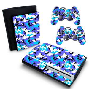 Adesivo Skin Playstation 3 PS3 Fat Pelicula Camo Blue Ice