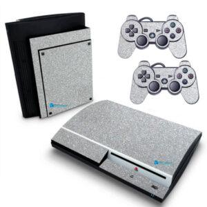 Adesivo Skin Playstation 3 PS3 Fat Pelicula Metalico Brilho Cinza