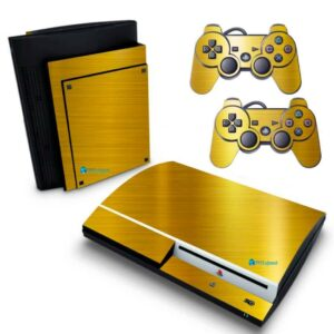Adesivo Skin Playstation 3 PS3 Fat Pelicula Ouro Cromo Escovado