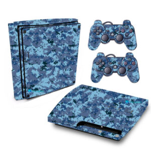 Adesivo Skin Playstation 3 Slim PS3 Pelicula Camo Digi Ocean Blue