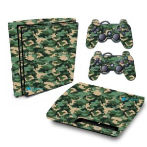 Adesivo Skin Playstation 3 Slim PS3 Pelicula Camo Green Tradicional
