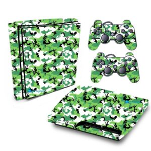 Adesivo Skin Playstation 3 Slim PS3 Pelicula Camo Green