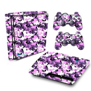 Adesivo Skin Playstation 3 Slim PS3 Pelicula Camo Purple Roxo