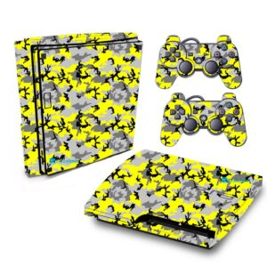 Adesivo Skin Playstation 3 Slim PS3 Pelicula Camo Yellow
