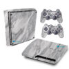 Adesivo Skin Playstation 3 Slim PS3 Pelicula Marmore Carrara