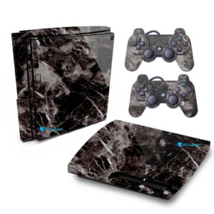 Adesivo Skin Playstation 3 Slim PS3 Pelicula Marmore Nero