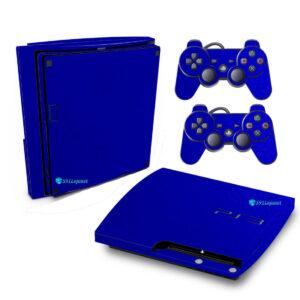 Adesivo Skin Playstation 3 Slim PS3 Pelicula Metalico Brilho Azul