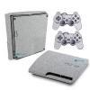 Adesivo Skin Playstation 3 Slim PS3 Pelicula Metalico Brilho Cinza
