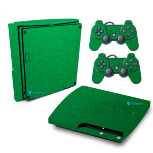 Adesivo Skin Playstation 3 Slim PS3 Pelicula Metalico Brilho Verde