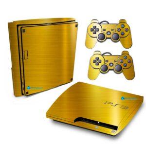 Adesivo Skin Playstation 3 Slim PS3 Pelicula Ouro Cromo Escovado