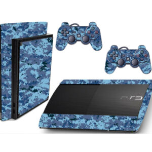 Adesivo Skin Playstation 3 Super Slim PS3 Pelicula Camo Digi Ocean Blue