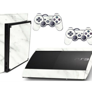 Adesivo Skin Playstation 3 Super Slim PS3 Pelicula Marmore Bianco