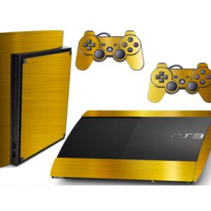 Adesivo Skin Playstation 3 Super Slim PS3 Pelicula Ouro Cromo Escovado