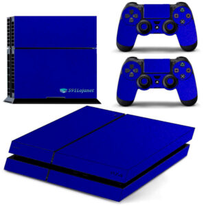 Adesivo Skin Playstation 4 PS4 Fat Pelicula Metalico Brilho Azul