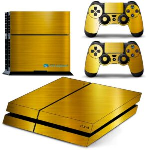 Adesivo Skin Playstation 4 PS4 Fat Pelicula Ouro Cromo Escovado