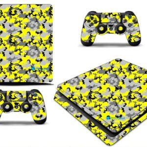 Adesivo Skin Playstation 4 Slim Pelicula Camo Yellow