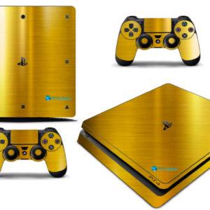 Adesivo Skin Playstation 4 Slim Pelicula Ouro Cromo Escovado