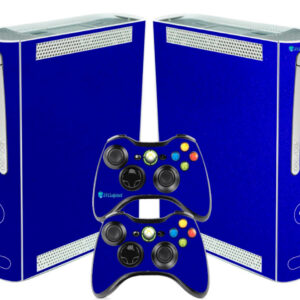 Adesivo Skin Xbox 360 Fat Pelicula Metalico Brilho Azul