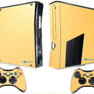 Adesivo Skin Xbox 360 Slim Pelicula Metalico Brilho Gold
