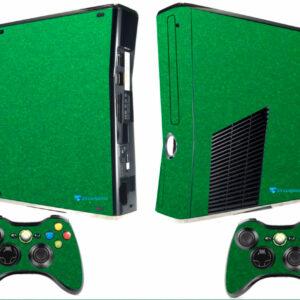 Adesivo Skin Xbox 360 Slim Pelicula Metalico Brilho Verde