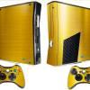 Adesivo Skin Xbox 360 Slim Pelicula Ouro Cromo Escovado