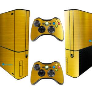 Adesivo Skin Xbox 360 Super Slim Pelicula Ouro Cromo Escovado