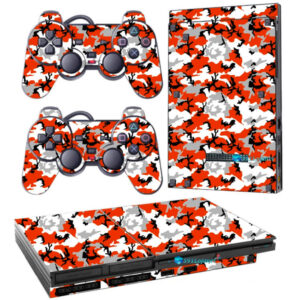 Adesivo Skin Playstation 2 Slim PS2 V1 Pelicula Camo Red
