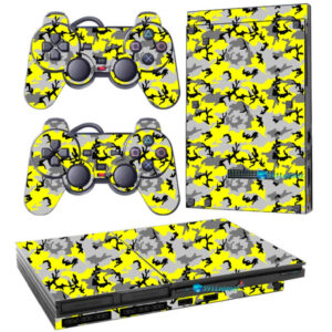 Adesivo Skin Playstation 2 Slim PS2 V1 Pelicula Camo Yellow